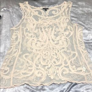 EXPRESS mesh shirt with cream design size large